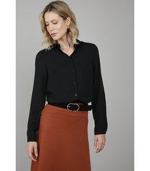 camisa feminina ampla manga longa preta