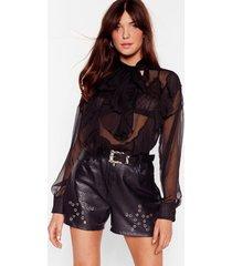 womens vintage eyelet it go leather shorts - black