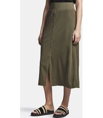 ribbed button front skirt