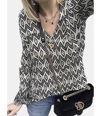 camicetta casual da donna a maniche lunghe con bottoni con stampa di diamanti