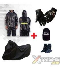 impermeable+pijama moto sencilla+forro maleta+zapatones+guantes pro