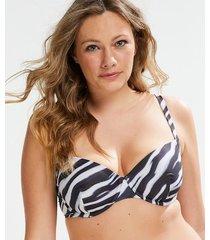 hunkemöller formpressad bikiniöverdel med bygel zebra svart