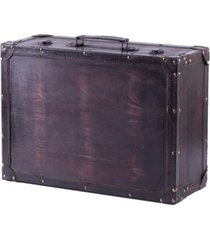 vintiquewise vintage-like style wooden suitcase with leather trim