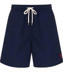 polo ralph lauren logo embroidered swim shorts - blue
