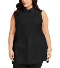 alfani plus size sleeveless knit button-front blouse, created for macy's