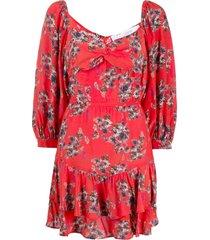 iro twisted neck floral print mini dress - red