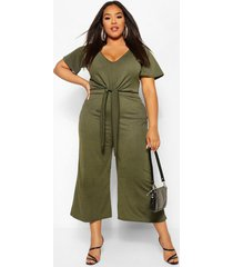plus tie front angel sleeve culotte jumpsuit, khaki