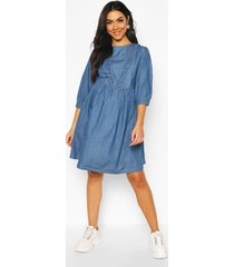 maternity ruffle detail smock denim dress, mid blue