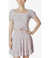 ultra flirt juniors' floral-print smocked skirt