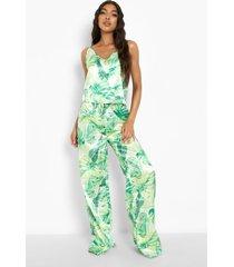 tall satijnen tropische pyjama set met broek, green