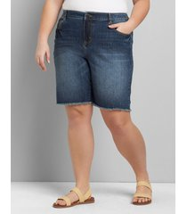 lane bryant women's signature fit denim boyfriend bermuda - dark wash 12 dark denim
