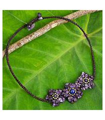 amethyst and lapis lazuli flower necklace, 'bearing blossoms' (thailand)
