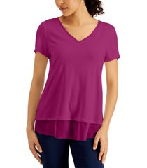 jm collection petite chiffon-trim top, created for macy's