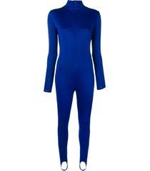 atu body couture stirrup ankle jumpsuit - blue