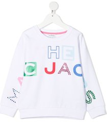 little marc jacobs jersey sweatshirt with multicolor logo