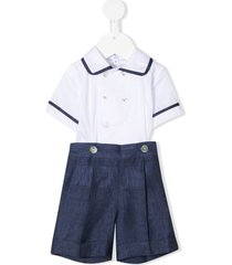 siola double-breasted linen tracksuit set - blue