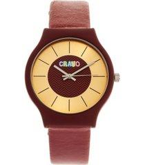 crayo unisex trinity maroon leatherette strap watch 36mm