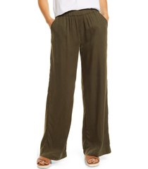 caslon(r) elastic waist wide leg pants, size small in olive sarma at nordstrom
