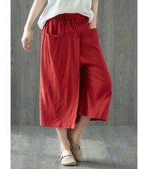 pantaloni a gamba larga per tasche pure colour per le donne