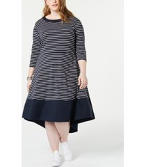 tommy hilfiger plus size striped a-line dress, created for macy's
