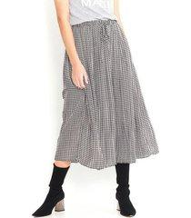 falda plisada a cuadros vichy blanco con negro, largo midi, fluida color-multicolor-talla-10