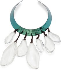 alexis bittar women's liquid blue-plated metal, lucite & leather collar necklace