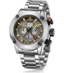 reloj de hombre t5 pulso acero h3657g-b - plateado/cafe
