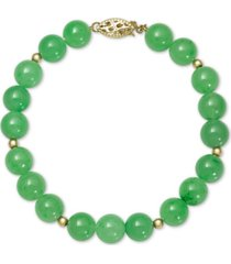 dyed jade (8mm) beaded bracelet in 14k gold