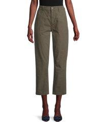joe's jeans women's cropped straight utility pants - army green - size 27 (4)