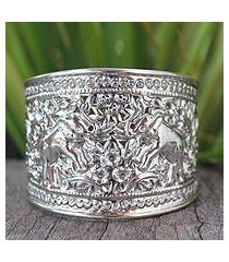 sterling silver cuff bracelet, 'elephant roses' (thailand)