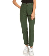 roxy juniors' sense yourself cotton belted utility pants