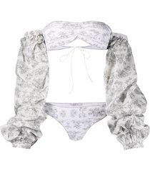 oséree botanic-print long-sleeved bikini - white