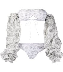 oséree botanic-print long-sleeved bikini - white