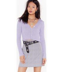 womens purple check mini skirt - lilac