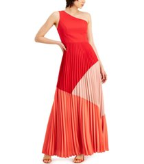 aidan by aidan mattox one-shoulder pleated colorblocked gown