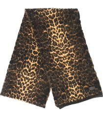 saint laurent leopard print scarf - black