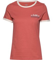 essential slim tee t-shirts & tops short-sleeved röd lee jeans