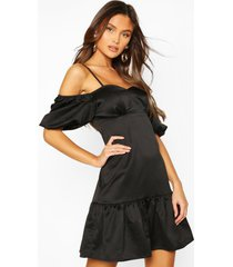 cold shoulder puff sleeve satin skater dress, black