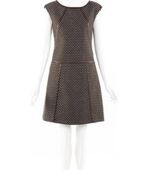 prada checked wool leather trim dress brown sz: s