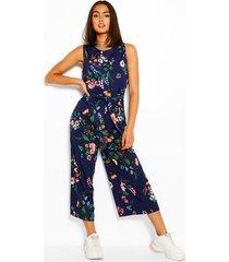 floral print self tie waist culotte jumpsuit, navy