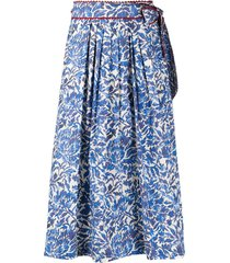 weekend max mara floral full skirt - blue