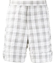 thom browne seersucker tweed tailored shorts - white