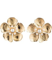 gold brass peony clip earrings with pearl, women's, josie natori