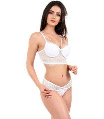 conjunto imi lingerie com bojo cropped em renda strappy sabrina branco - branco - feminino - renda - dafiti