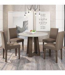 mesa de jantar 4 lugares isabela giovana 100% mdf castanho/off white - new ceval