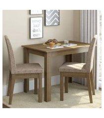 conjunto sala de jantar madesa titi mesa tampo de madeira com 2 cadeiras rustic/fendi rustic/fendi