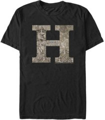fifth sun harry potter men's hogwarts h vintage-inspired logo short sleeve t-shirt