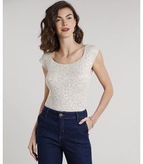 blusa feminina em tricô manga curta decote redondo kaki