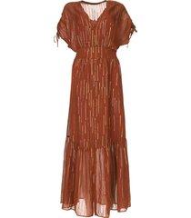 doorknoop maxi-jurk met lurex freya  bruin