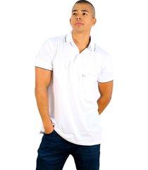 camiseta polo hamer, basica con bolsillo, para hombre color blanco